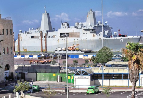 The USS San Antonio at dock in Haifa 12 hours ago (picture source: ynet news).