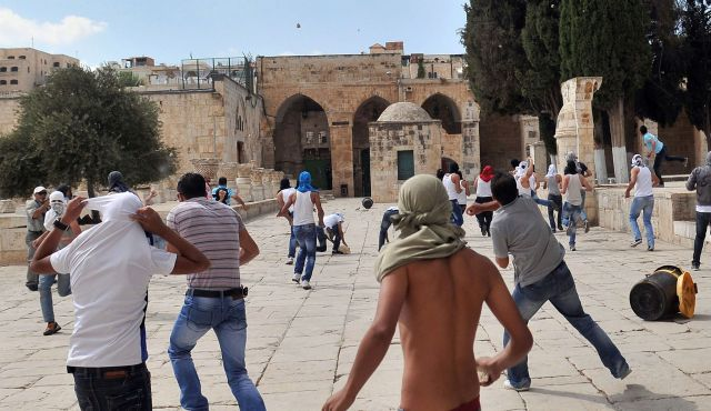 A commonplace scene on the Temple Mount these days (photo AP).
