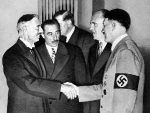 Chamberlain shaking hands with Hitler. Who will be shaking hands with Ali Khamenei or Rouhani when the West appeases Iran?