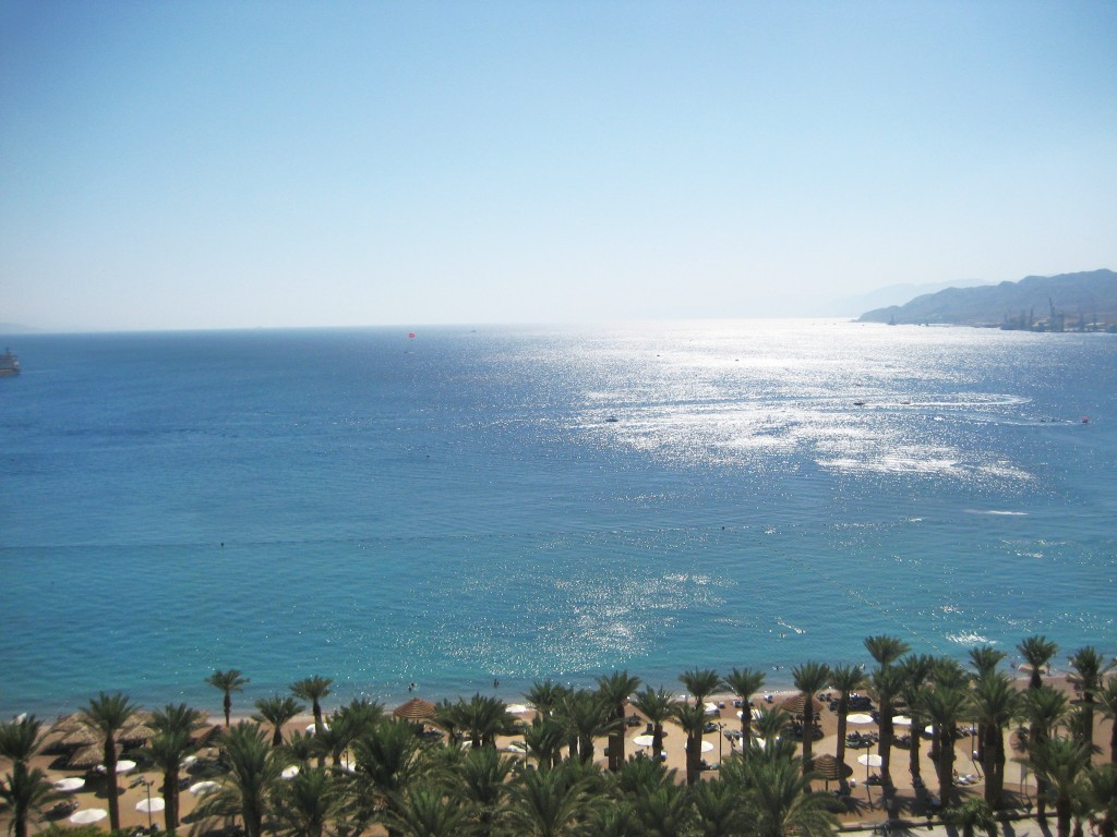The view from Eilat looking out at the Red Sea yesterday afternoon.