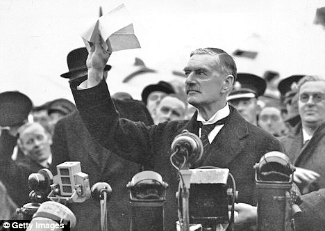 Triumphant appeaser British PM Neville Chamberlain as he stepped off the plane from Berlin. It was a triumph short-lived.