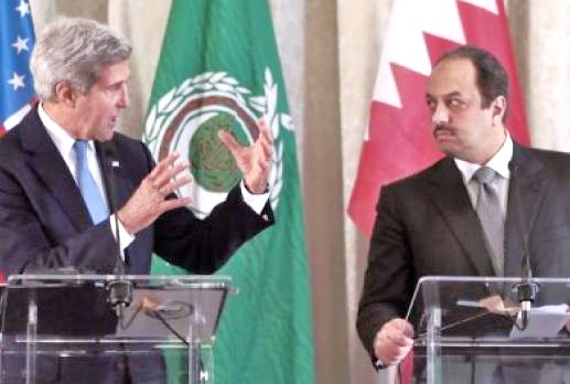 Kerry, the PLO shill, with his Qatari counterpart. Even in this old photo, the Qatarai doesn't look very happy.