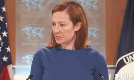Jen Psaki at the U.S. State Department (picture: CBS News/Washington Post).