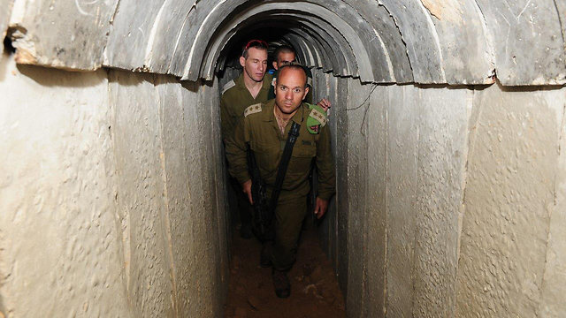 From inside the tunnel. Note the concrete blocks and arches--made in Israel and transported to the terrorists by Israel.