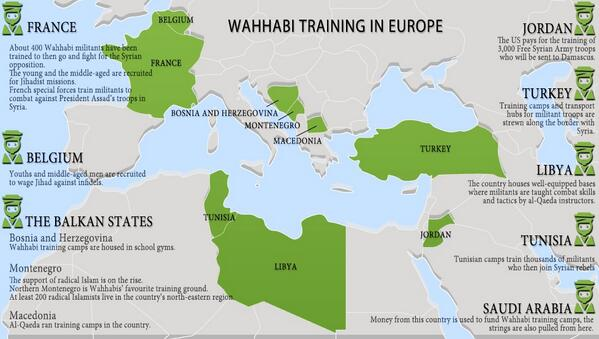A map of Saudi Wahhabist training camps in Europe, north Africa, and the Middle East.