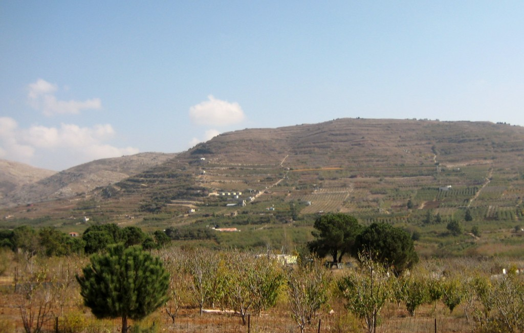 "On the ""backside"" of Majdal Shams. That's Lebanon on the left margin of picture--and Syria center and right."