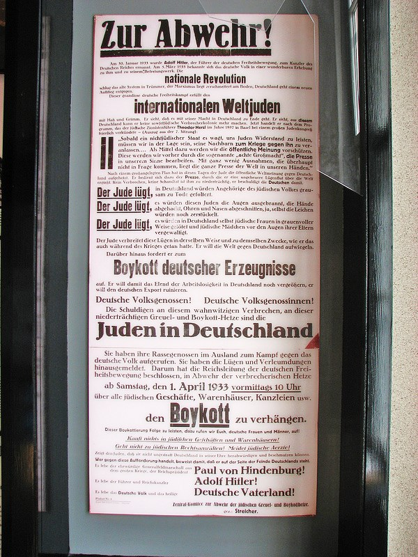 "And so it begins again. A ""Boykott the Jews"" poster put up by the Nazis in the 1930s. This poster was signed by Adolf Hitler; the boycott proclamation yesterday was signed by the European Union."