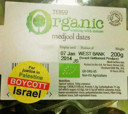 "Now appearing at Irish supermarkets--note that the sticker reads ""Boycott Israel""."