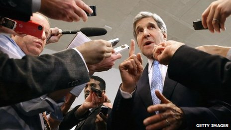 John Kerry on part of his whirlwind campaign in Washington yesterday to blast Israel and take the heat off of Iran (picture source: Getty Images).