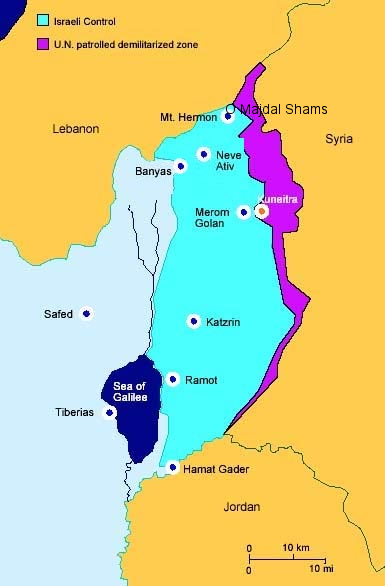 Almost the same map as yesterday (with the addition of Majdal Shams)--again note that the light green area is northern Israeli Golan Heights. The purple area is the DMZ between Israel and Syria. Our route on Monday took us from Mt. Hermon to Majdal Shams to beside Kuneitra to Katzrin.