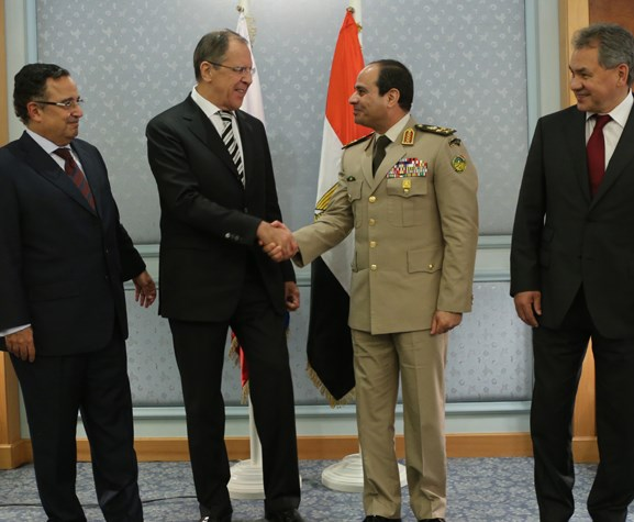 Smiles all around. From left to right--the Egyptian FM, Russian FM Laprov, General Sisi, Russian Defense Minister