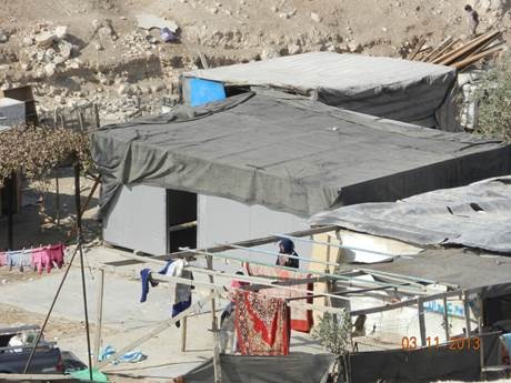 Part of an illegal Palestinian settlement that has gone up in Israel's E1 area near Maaleh Adumim. No one in the international community has said a word (picture: inn.co.il).