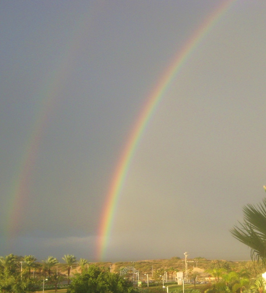 The view from our window this morning looking out over the Mediterranean. Note that there is a faint second rainbow.