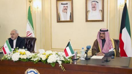 The Iranian (left) and Kuwaiti foreign ministers yesterday in Kuwait (picture: Reuters).