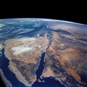 In this picture from space provided by NASA, note the Red Sea in the middle of the picture and the little spot of water that is the Dead Sea.