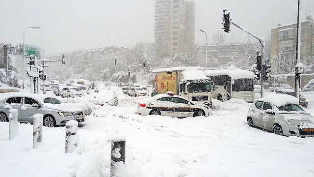 All traffic has ground to a halt in Jerusalem (picture Ynet).
