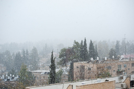 Snow in Jerusalem in the last hour (photo: walla).