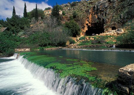"The Banias ""waterfall"" in the Israeli Golan Heights."