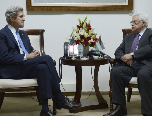 Kerry meets with his buddy Mahmoud Abbas--the unelected dictator of the Palestinians in Judea and Samaria (picture: frontpagemag).