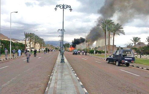 The site of the bus blast in Taba today (picture: Ynet).