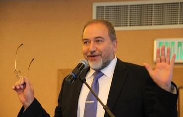 FM Avigdor Lieberman speaking two days ago (photo source: Tovah Lazaroff).