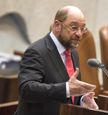 Martin Schulz preaching to Israelis in the Knesset today (picture:Flash 90).