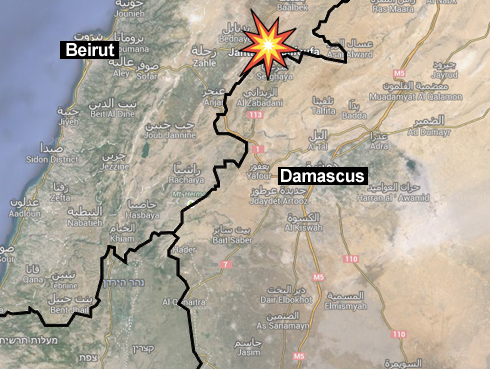 Where the IAF strike supposedly occurred (map: Ynet).