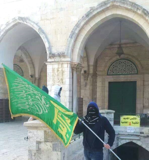 At the front door of the Al-Aksa Mosque. Remember: no Israeli flags are allowed on the Temple Mount--Judaism's holiest place.