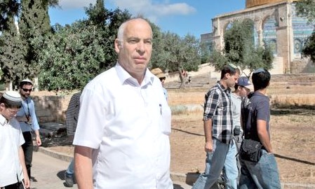 "Jewish Home legislator Uri Ariel on one of his frequent ""visits"" to the Temple Mount in Jerusalem (photo: Haaretz)."