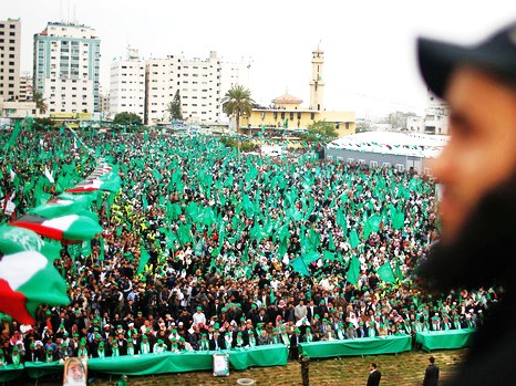 The scene in Gaza early this afternoon (picture: Reuters).