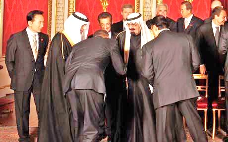 "Obama bowing to King Abdullah. Certainly Obama will not let a ""trifle"" like the denial of a visa rain on his parade (picture: Reuters)."