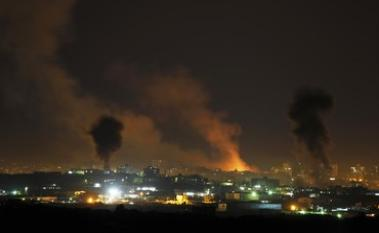 The Gaza landscape overnight (picture: Reuters/Whitehead).