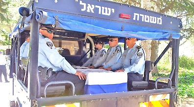 Mizrahi's body arrives on Mt. Herzl today with a police honor guard (picture walla).