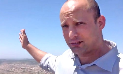The way forward: Bennett in Neveh Daniel this afternoon (picture ynetnews).