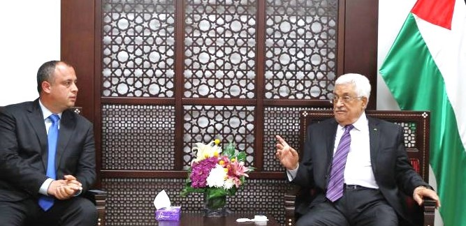 Hilik Bar of the Labor party  gazes adoringly at his hero, Mahmoud Abbas--the Chairman of the PLO and unelected president of the Palestinian Authority (AFP).