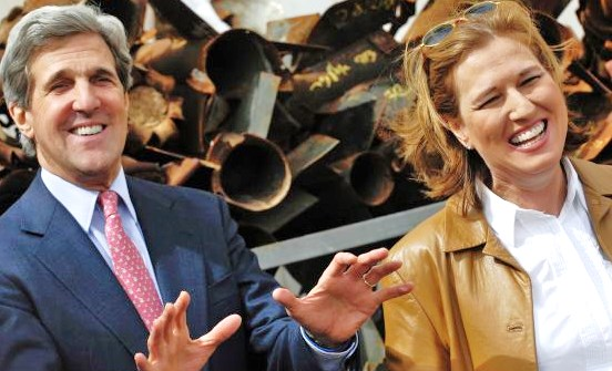 Livni with fellow jet-setter and bestie John Kerry yucking it up in a distinctly unfunny situation: in front of Qassam rockets which   tried to kill Israeli children, women, and men in and around Sderot.