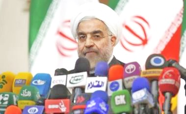 Rouhani speaking in Tehran today (photo: Reuters).