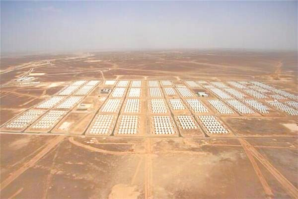 Nice neat rows of Syrian refugee tents cover the landscape in the Jordanian desert just across the Syrian border. Who cares?