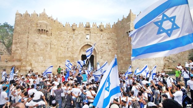 Jerusalem Day marchers prepare to march into the Old City (picture: bbc).
