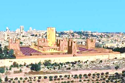 An artist's rendering of how the First Jewish Temple would look if it were still on the Temple Mount today (graphic: www.solomonstemple.com).