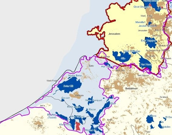 Note that the yellow area is Jerusalem--and the red line around it is the municipal boundary. The blue area is Gush Etzion which also includes dark blue municipalities such as Beitar Illit.