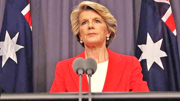 Let's hear it for the lady down under: Australian FM Julie Bishop--one of Israel's most ardent supporters (photo: smh.com.au),