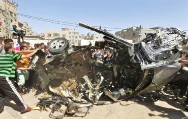 The car in which Palestinian terrorists Usama Hasumi and Muhammad Fatiah met their timely end yesterday afternoon.