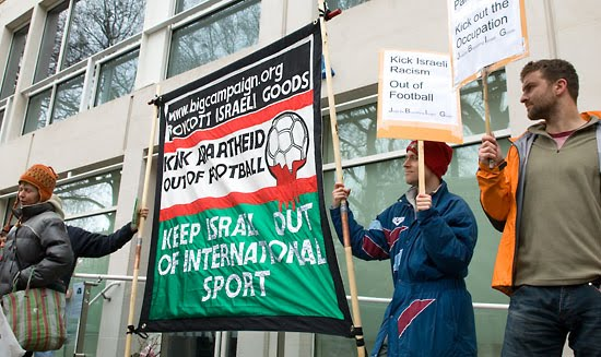 Just another day in Ireland and another protest against Israel--this one against Israeli football (soccer).