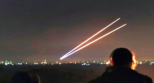 Unlike the Iron Dome firings your humble servant has seen, these seem to almost laser-guided.
