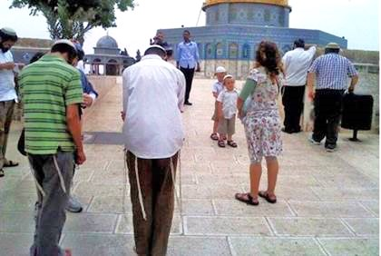 How amazing was this picture taken on Tuesday on the Temple Mount? Jews praying toward the holiest spot in Judaism--under the Kipat HaSela (Dome of the Rock).