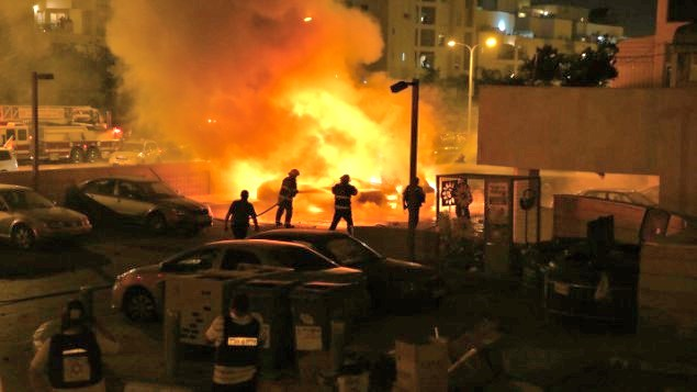 Three cars blown up by a missile in front of apartement buildings three blocks from my house in Ashdod. Fortunately no one was physically wounded.