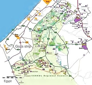 The Eshkol region (in green) consists of 12 kibbutzim and 13 moshavim. Its 11,000 residents are spread over 300 square miles.