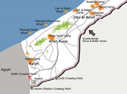 The Kerem Shalom Crossing is in the lower left of the map (The light gray area is Israel). It is almost exactly at the point where Egypt, Gaza, and Israel meet.
