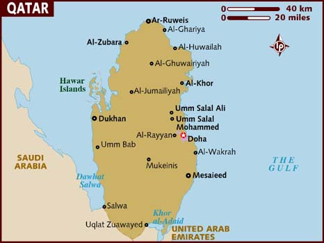 Qatar, with its capital of Doha (map: Lonely Planet).